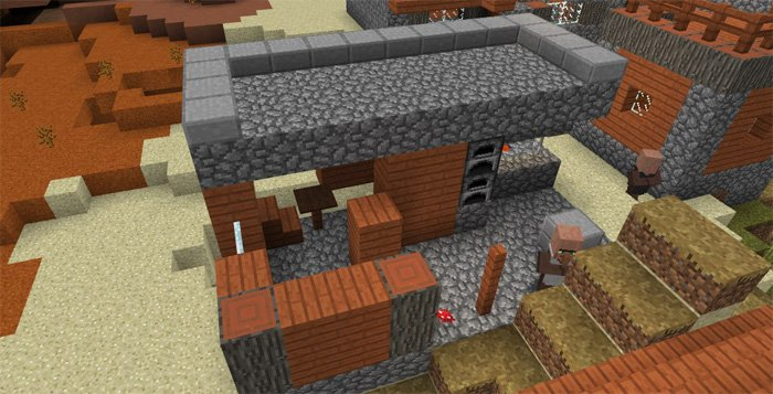 -1455702173: Surface Dungeon & Temple in a Mesa Village