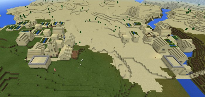 -962186478: Two Sand Villages At Spawn [Seed for MCPE]